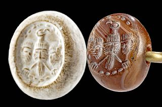 Sassanian Stone Stamp Seal Bead with Eagle