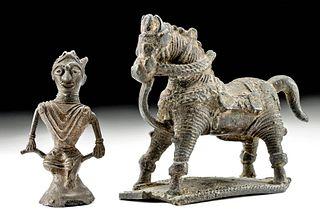 19th C. Indian Bastar Brass Horse & Rider