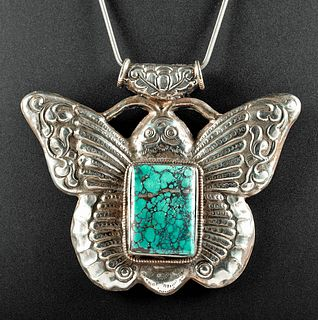 20th C. Nepalese Nickel-Silver & Turquoise Pendant