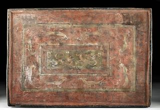 Chinese Han Dynasty Polychrome Plaque Avians, Leonines