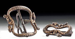 18th C. Balinese Gilt Iron 2-Part Buckle w/ Serpents