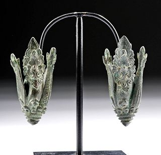 10th C. Khmer Bronze Peacock Flower Ear Ornaments (pr)