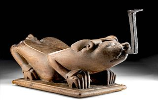 19th C. Thai Wood Coconut Grater - Crouching Dog