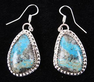 Navajo Stormy Mountain Turquoise Pendant Earrings