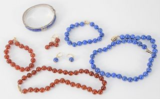 Nine Piece Set, to include lapis necklace; bracelet; pair of earrings; along with lapis bangle bracelet and dark amber color bead necklace, bracelet,