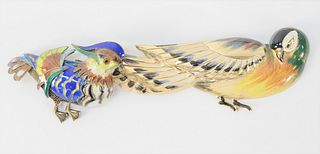 Pair of Silver and Enamel Bird Pins, longest 3 7/8 inches. Provenance: From the Robert Cerciello Collection, West Hartford, Connecticut.