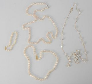 Four Piece Pearl Lot, to include three necklaces, one bracelet, three mounted with gold, one is freshwater pearls.