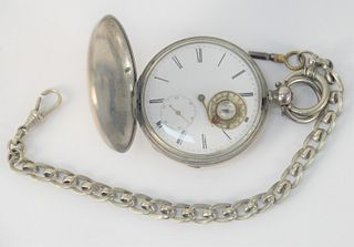 Silver Pocket Watch and Chain, porcelain dial having thermometer and compass (hour hand missing), 57.5 millimeters.