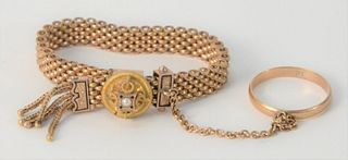 14 Karat Gold Victorian Bracelet and Ring, 11.2 grams.