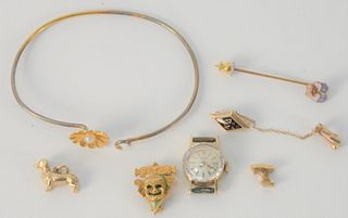 14 Karat Gold Lot, with ladies wristwatch, bracelet, two pins, etc., 22.9 grams total weight.