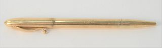 Tiffany & Company 14 Karat Gold Pen and Lead Pencil, monogrammed, total weight 29.8 grams, cap alone 5.3 grams.