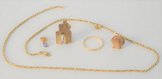 14 Karat Gold Lot, to include gold chain, two earrings, etc. total weight 16.4 grams.