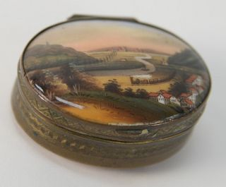 """Brass Box with Enameled Top, with train, boat, village, having stone bottom, 1 1/4"""" x 1 3/4""""."""