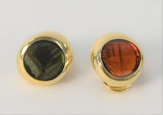Pair of Pablo 18 Karat Gold Earrings, one with amber stone, one with green stone, total weight 14.7 grams.
