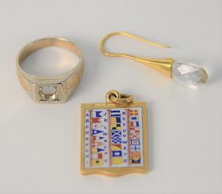 Three Piece Mixed Lot, to include 18 Karat and 14 Karat white and yellow gold ring, 18 karat emerald two-part medallion, boat flags, along with one ea