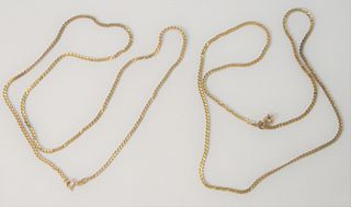 Two 18 Karat Gold Chains, 23 inches each, 24.8 grams.