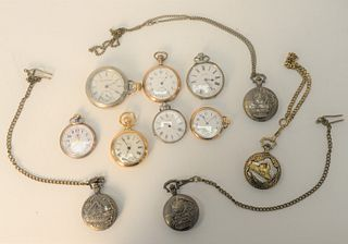 Eleven Pocket Watches, to include keywind, along with silver and reproduction railroad.