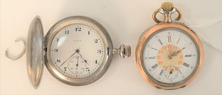 Two Pocket Watches, to include Elgin silver closed face with gold locomotive; along with one silver with gold trim, 46 and 48 millimeters.