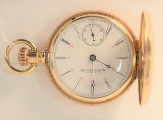 14 Karat Waltham American Watch Company, closed face pocket watch, 53 millimeters, 134.9 grams total weight.