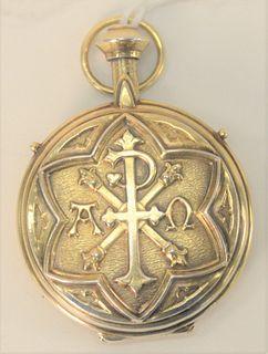 14 Karat Gold Locket, 33.8 grams, 45.7 millimeters.