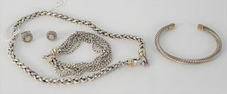 David Yurman Lot, to include two bracelets, one with gold tips, one necklace and pair of earring with small diamonds.
