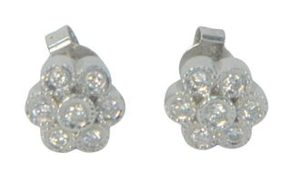 14 Karat White Gold and Diamond Earrings, seven diamonds each.
