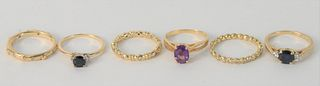 Six Various 14 Karat Gold Rings, three mounted with stones, total weight 14.9 grams.