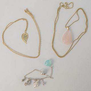 Three Necklaces, one marked 14K, one clasp marked 14K, and one sterling marked .925 to include one with pink quartz, and one with small pearls, approx
