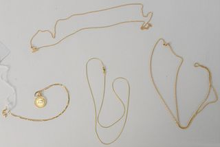 Four 14 Karat Gold Chains, one with gold pendant, 20.5 grams.