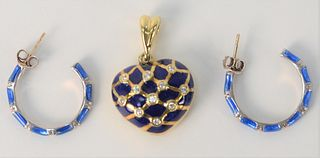 Hidalgo Three Piece Lot, to include pair of silver enameled earrings; along with 18 karat gold heart pendant, with blue enameling and diamonds, gold 9