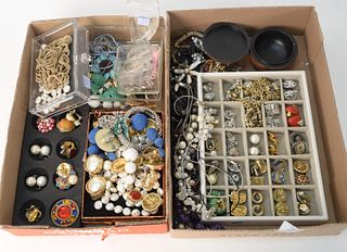 Two Box Lots of Costume Jewelry, to include pieces signed Kenneth Lane, Carolee, and many others.