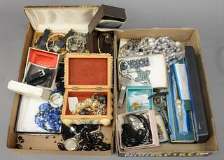 Two Box Lots of Mostly Costume Jewelry, small amount of gold, several watches including Casio in original box.