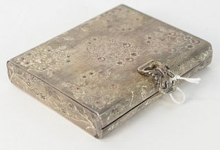 """Silver Clutch Set with Various Colored Stones, 4"""" x 4-3/4""""."""