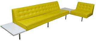 """George Nelson for Herman Miller Two-Part Sectional Sofa, with tables, having steel frame, yellow vinyl upholstery, height 27 inches, 136"""" x 60""""."""