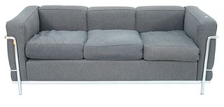 Le Corbusier Cassina LC2 Charcoal Upholstered Sofa, with chrome base and supports, height 27 inches, length 68 inches.