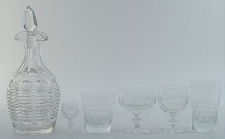 Thirty-Nine Piece Group of Crystal Stemware and Glasses, to include a decanter, 9 tumblers, 6 tall glasses, 11 short stemmed wines, 8 cordials, 5 misc