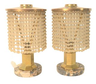Pair of Mid-Century Brass Table Lamps, having glass bead shades on granite base, height 14 inches.