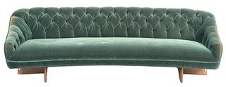 Vladimir Kagan Sofa, sculpted walnut, with green mohair, tufted upholstery, similar to No. 6999, height 28 1/2 inches, width 96 inches, depth 29 inche