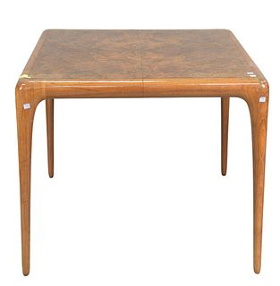 """Vladimir Kagan Card Table, having burled top with walnut base, stamped Kagan on bottom, with one 27 3/4 inch leaf, height 28 inches, top 34"""" x 34"""", op"""