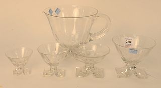 Set of 37 Crystal Stem Glasses, to include a set of 10 red wine; 6 white wine; 11 champagne; and 10 cordials, along with a pitcher, possibly Baccarat,