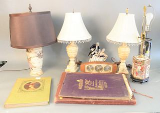 Large group of assorted items to include chrome tubular lamp; Japanese satsuma; pair of marble lamps; Royal Dux double figure; Airguide clock; small p