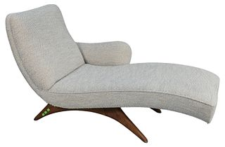 Vladimir Kagan Contour Chaise, signed on bottom, height 32 1/2 inches, length 58 inches, width 30 inches.