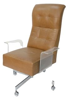 Vladimir Kagan executive desk chair, sculpted Lucite, leather and chrome, height 44 inches, length 31 inches, width 30 inches. Provenance: The Estate