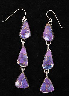 Navajo Sugilite & Bronze Pendant Earrings