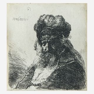Rembrandt van Rijn (Dutch, 1606–1669), , Old Bearded Man in a High Fur Cap, with Eyes Closed