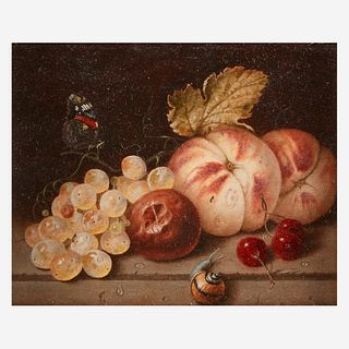 Follower of Adriaen Coorte (Dutch, 1665–1707) | A 19th Century Work, , Still Life with Grapes, Peaches, Cherries, Snail, and Butterfly