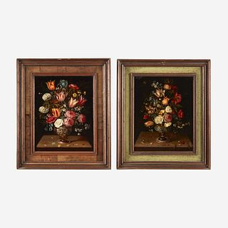 Circle of Frans Francken the Younger (Flemish, 1581–1642), , A Still life of Flowers in an Urn on a Ledge; together with a companion