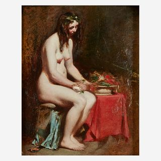 William Etty (British, 1787–1849), , Seated Female Nude with Flowers in her Hair and a Still-Life by her Side