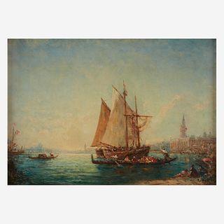 Félix Ziem (French, 1821–1911), , Topo-Pêcheur et Gondoles dans le Bassin