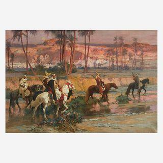 Frederick Arthur Bridgman (American, 1847–1928), , Fording the Stream, Algeria